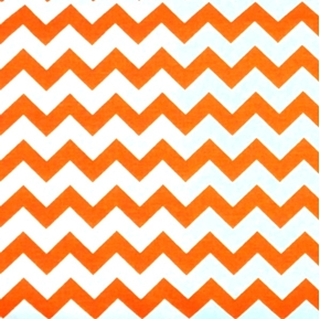 Chevrons Half Inch Orange Chevron on White Cotton Fabric