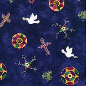 Tossed Religious Signs Crosses And Doves Cotton Fabric
