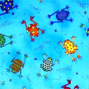 Picture of Fun For Kids Painted Frogs on Blue Cotton Fabric