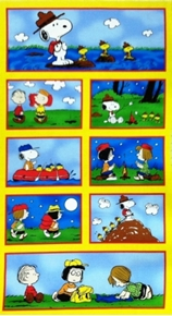 Camp Peanuts Scenes In Squares 24X44 Large Cotton Fabric Panel