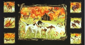 Picture of Country Fields Hunting Dogs and Fall Colors 24x44 Large Fabric Panel