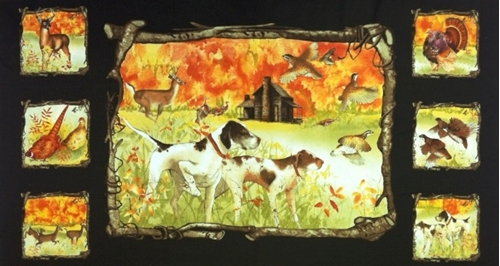 Country Fields Hunting Dogs and Fall Colors 24x44 Large Fabric Panel