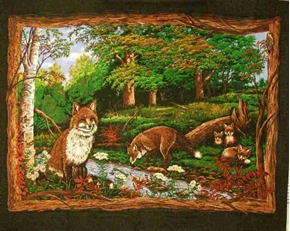 Red Fox Family In The Woods Large Cotton Fabric Panel