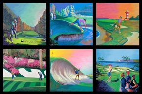 Picture of Fore! Golfing Scenes In Squares 24x44 Large Cotton Fabric Panel