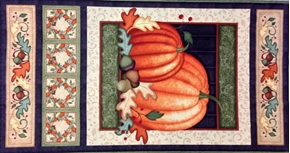 Picture of Harvest Fare Fall Leaves, Acorns, Pumpkins 24x44 Large Fabric Panel