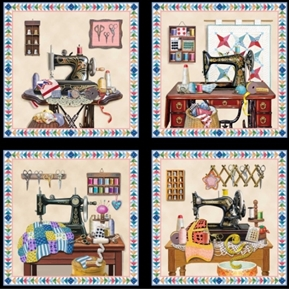 Picture of A Stitch In Time Vintage Sewing Machines 24x44 Large Fabric Panel
