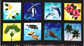 Tropical Breeze Dolphins And Flower Squares 24X44 Large Fabric Panel