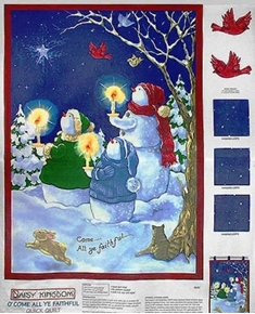 Picture of Oh Come All Ye Faithful Snowman Wall Hanging Fabric Craft Panel