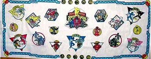 Power Ranger Appliques 18X44 Cotton Fabric Craft Panel