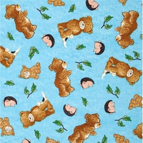 a Beary Fun Day Popcorn Hedgehogs And Cats Blue Cotton Fabric
