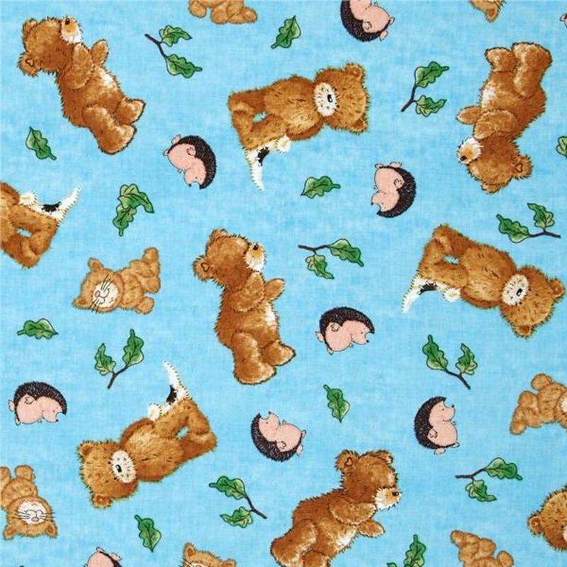 Picture of A Beary Fun Day Popcorn, Hedgehogs and Cats Blue Cotton Fabric