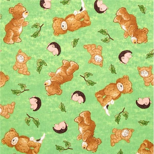a Beary Fun Day Popcorn Hedgehogs And Cats Green Cotton Fabric