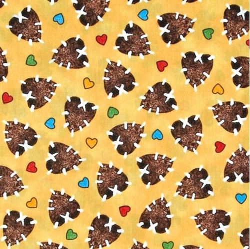 a Beary Fun Day Popcorn Stitched Hearts On Gold Cotton Fabric