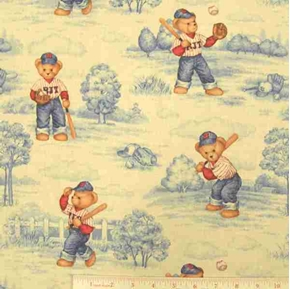 Blue Jean Teddy Bear Batter Up Baseball Cotton Fabric