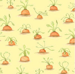 Picture of Rock A Bye Bunny Carrot Tops on Pale Yellow Cotton Fabric
