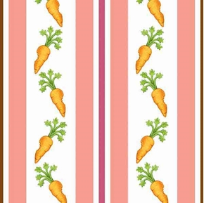 Picture of Rock A Bye Bunny Carrots in Stripes Pink Cotton Fabric