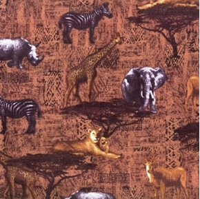 Serengeti African Animals Rhino Lions And Zebras Cotton Fabric