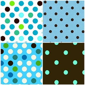 Contempo Dots Blue Brown and White 4 Fat Quarter Fabric Collection