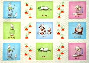 Bunnies By The Bay Family in Squares 24x44 Large Cotton Fabric Panel
