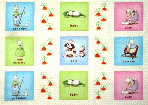 Large Fabric Panels : Cotton fabric large panel bunnies by the bay family in