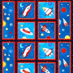 Picture of Cruising The Galaxy Rockets Stars Planets 24x44 Large Fabric Panel