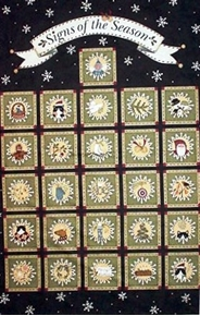 Signs of Season Christmas Cats Large Cotton Fabric Panel