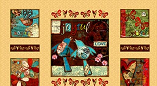 Song of Joy Joyful Pictures Patch 24x44 Large Cotton Fabric Panel