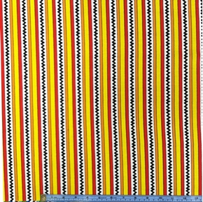 Camp Peanuts Chevrons And Stripes Red Yellow Orange Cotton Fabric