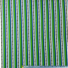 Camp Peanuts Chevrons And Stripes Blue And Green Cotton Fabric