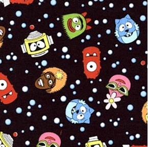 Picture of Yo Gabba Gabba Tiny Characters on Black Cotton Fabric