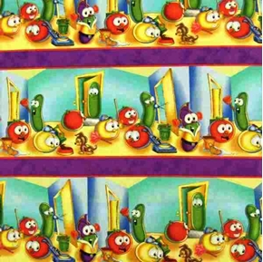 Picture of Helping Hands Veggie Tales Chores Stripes Cotton Fabric