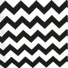Chevrons Half Inch Black Chevron On White Cotton Fabric