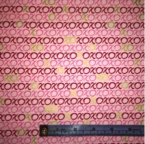 Picture of Hugs and Kisses XOXO on Light Pink Cotton Fabric