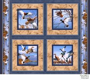 Walden Pond Mallard Ducks Cotton Fabric Pillow Panel Set
