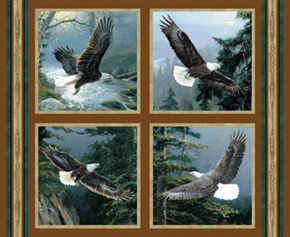 All He Surveys Bald Eagles In Flight Cotton Fabric Pillow Panel Set