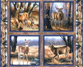 Eastern Edge Deer And Buck Cotton Fabric Pillow Panel Set
