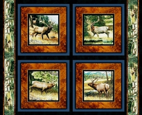 Picture of Lookout Peak Elk In The Wild Cotton Fabric Pillow Panel Set