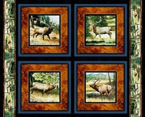 Lookout Peak Elk In The Wild Cotton Fabric Pillow Panel Set