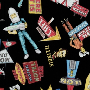 Picture of Get Your Kicks Route 66 Travel Icons on Black Cotton Fabric