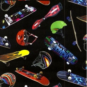 Colorful Skateboards And Helmets On Black Cotton Fabric