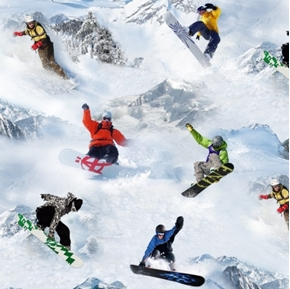 Picture of Winter Sports Snowboard Snowboarders Cotton Fabric