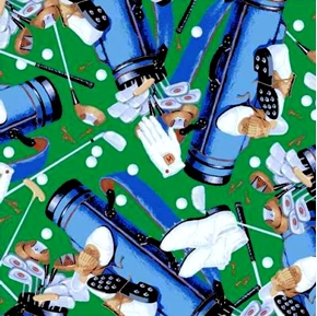 Hole In One Golf Equipment Galore on Green Cotton Fabric