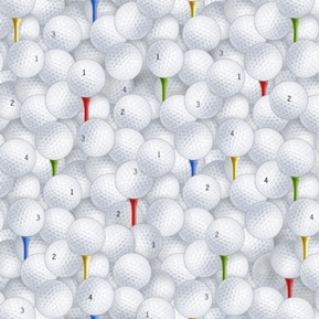 Fore Numbered Golf Balls On Colorful Tees Cotton Fabric