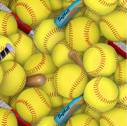 Sports Collection Softballs And Bats Yellow Softball Cotton Fabric