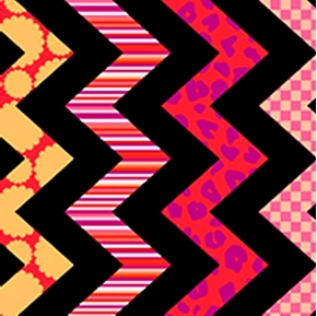Chevron Chic Quarter Inch Red Pink Patterned Chevrons Cotton Fabric