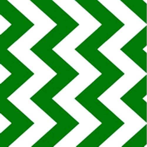 Cotton Fabric - Pattern Fabric - Chevron Chic True Green and White ...