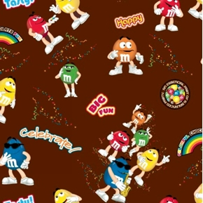 Picture of M and M Funfetti Candy on Brown Cotton Fabric