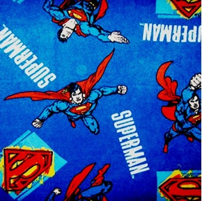 Superman Flying Square Emblems On Blue Half Yard Fleece Fabric