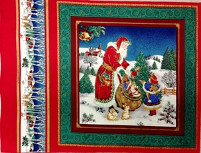 St Nicklaus Santa Toys and Children in the Woods Fabric Pillow Panel