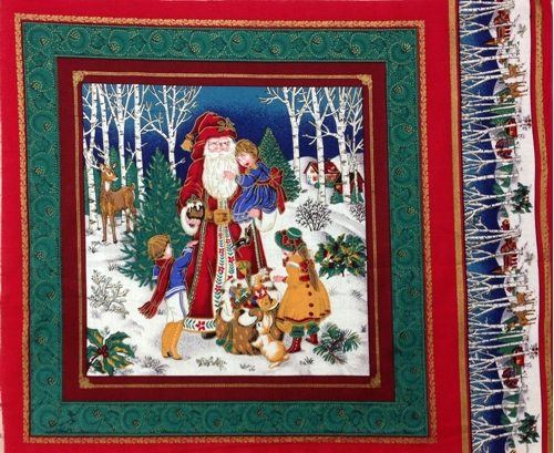 St Nicklaus Santa Bag of Toys with Little Girl Fabric Pillow Panel